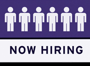 Now Hiring Sign with stylized people