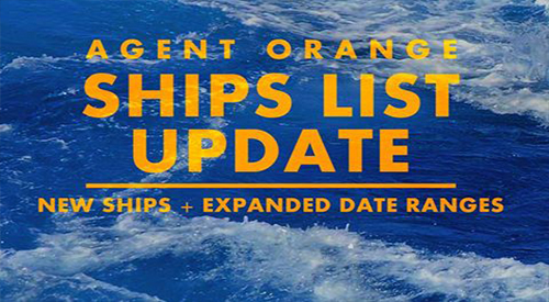 The sea text Agent Orange Ships List Update.