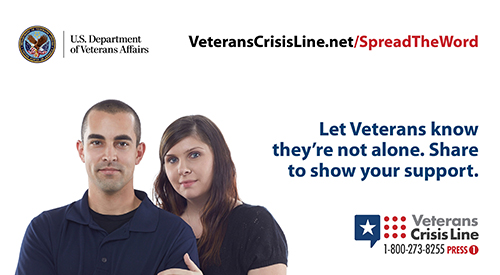 Text: Veterans Crisis Line.net/SpreadTheWord