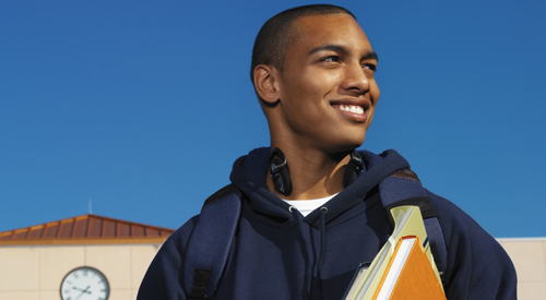Smiling African-American college student.