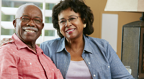 Smiling African-American senior couple.