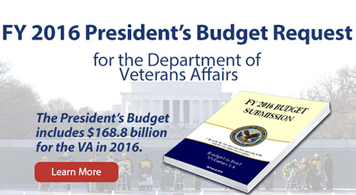 Pearl harbor memorial ceremony with text that reads: FY 2016 President's Budget Request for the Department of Veterans Affairs - The President's Budget includes $168.8 billion for the VA in 2016. Learn More