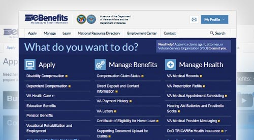 Screen shot of the new look inside eBenefits website