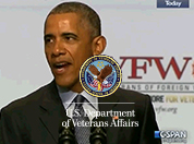 President Obama speaking at the VFW National Convention