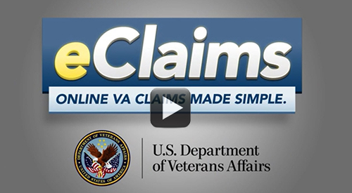 Text eClaims Made Simple. The Department of Veterans Affairs seal.