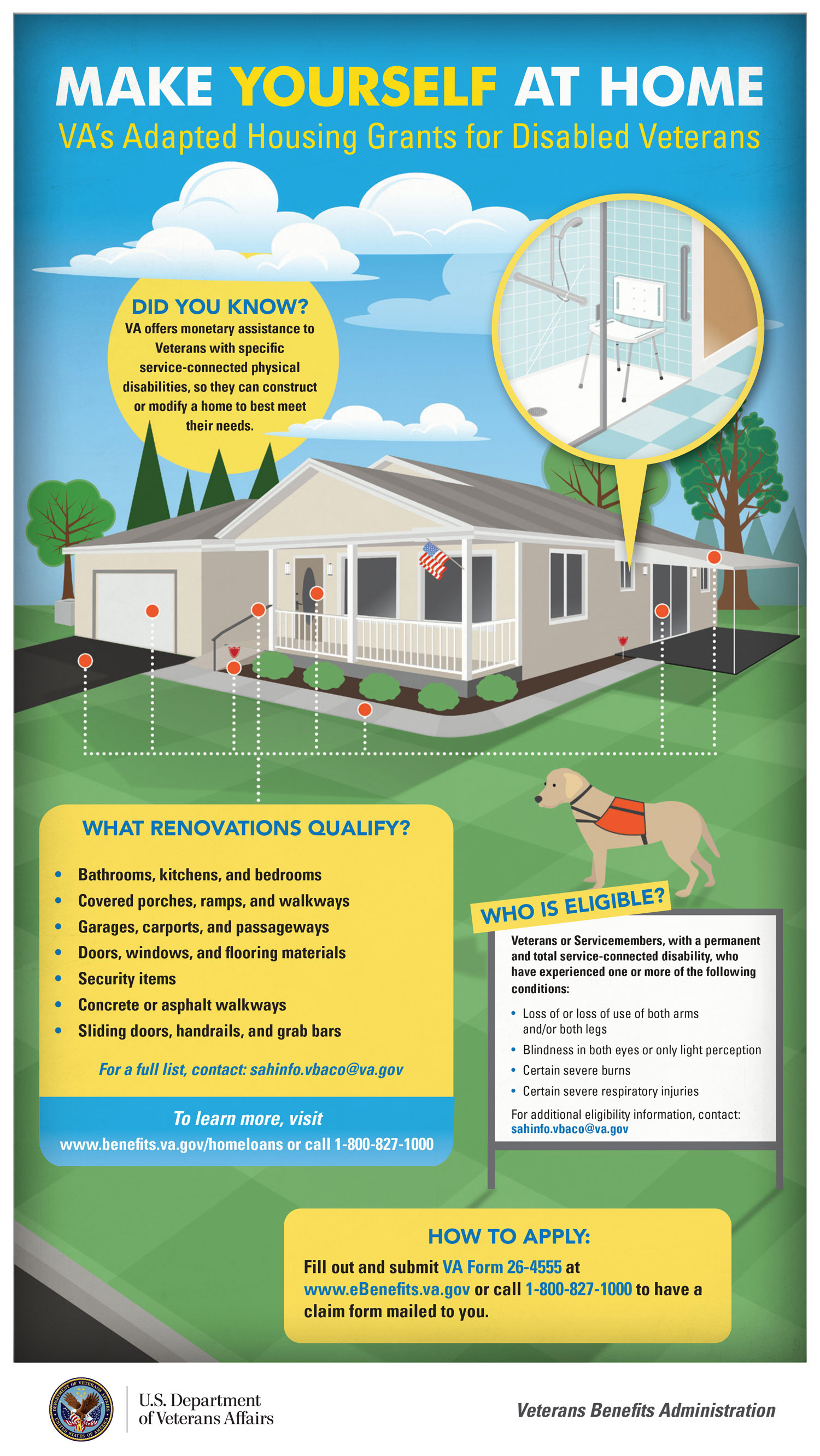 MAKE YOURSELF AT HOME. VA's Adapted Housing Grants for Disabled Veterans. Did you know VA offers monetary assistance to Veterans with specific service-connected physical disabilities, so they can construct or modify a home to best meet their needs? This is infographic details the types of renovations that qualify, the eligibility conditions, and how you can apply by submitting VA Form 26-4555 at www.eBenefits.va.gov or call 1-800-827-1000 to have a claim form mailed for you. Please see PDF Download link to view an accessible PDF that addresses the text content of this document.