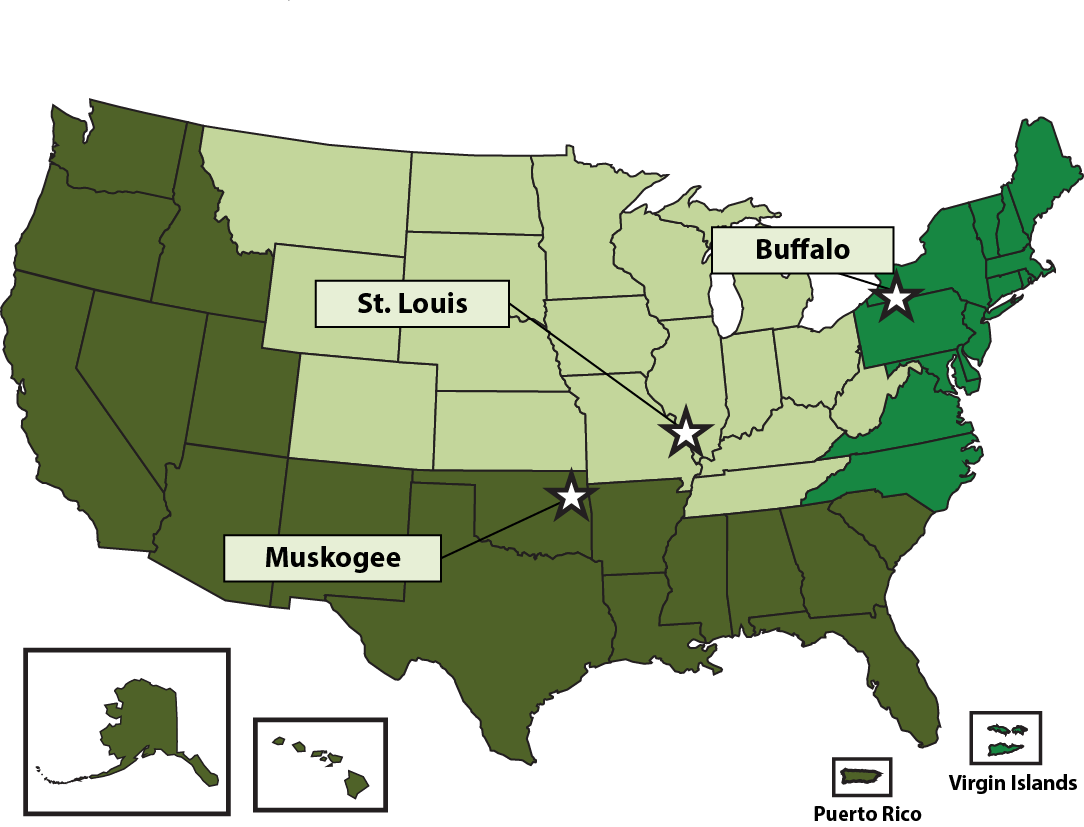 USA Map for Regional Processing Offices